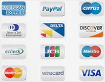 paypal, visa, american express card accepted